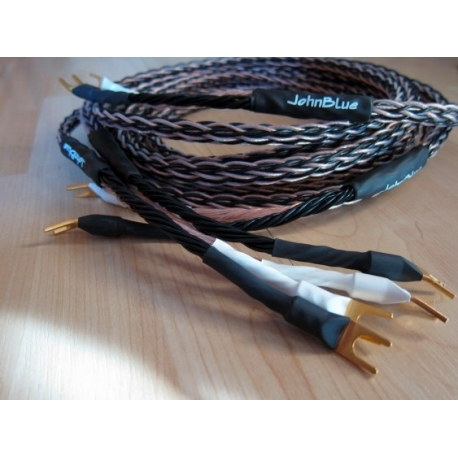 JohnBlue SC-88 speaker cables terminated with spades 2 x 3 metres